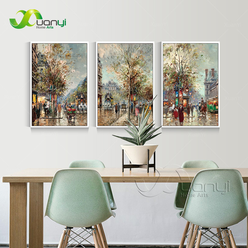 Home Decoration: Street View Scenes 3 Panel Canvas Oil Painting Abstract