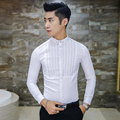 2016 White Mens Shirts Slim Fit Black Stripe Vintage Gothic Clothing Mens Retro Wedding Night Club Outfits Long Sleeve Shirts
