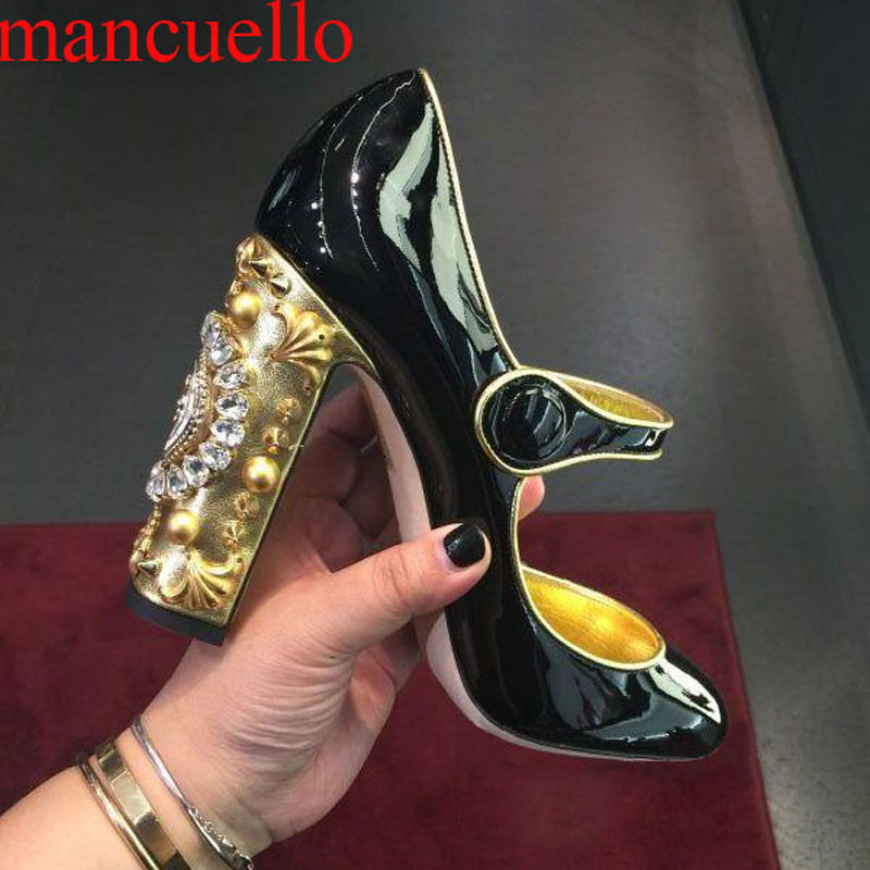 Sweet Lolita Mary Janes Shiny Leather Woman Pumps Gem Crystal Embellished Clock Decor Square Heel Floral Buckle Strap Pump Shoes