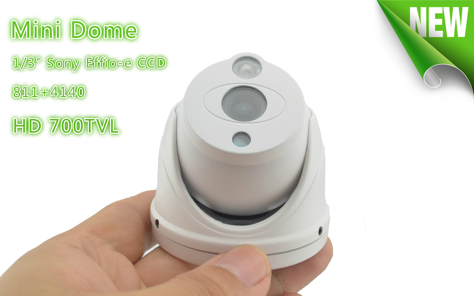 Promotion Mini Dome Camera 1/3 Sony 700TVL Effio-e CCD 811+4140 CCTV Camera security video surveillance Free shipping