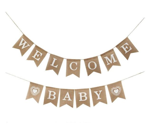 531b9bc03523 WELCOME BABY Banner flags party garland boy baby shower bunting boy ...