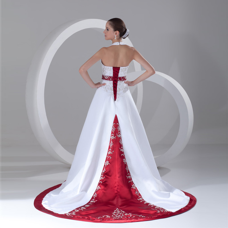 Online Shop 2017 Elegant Burgundy White Satin Embroidery Wedding