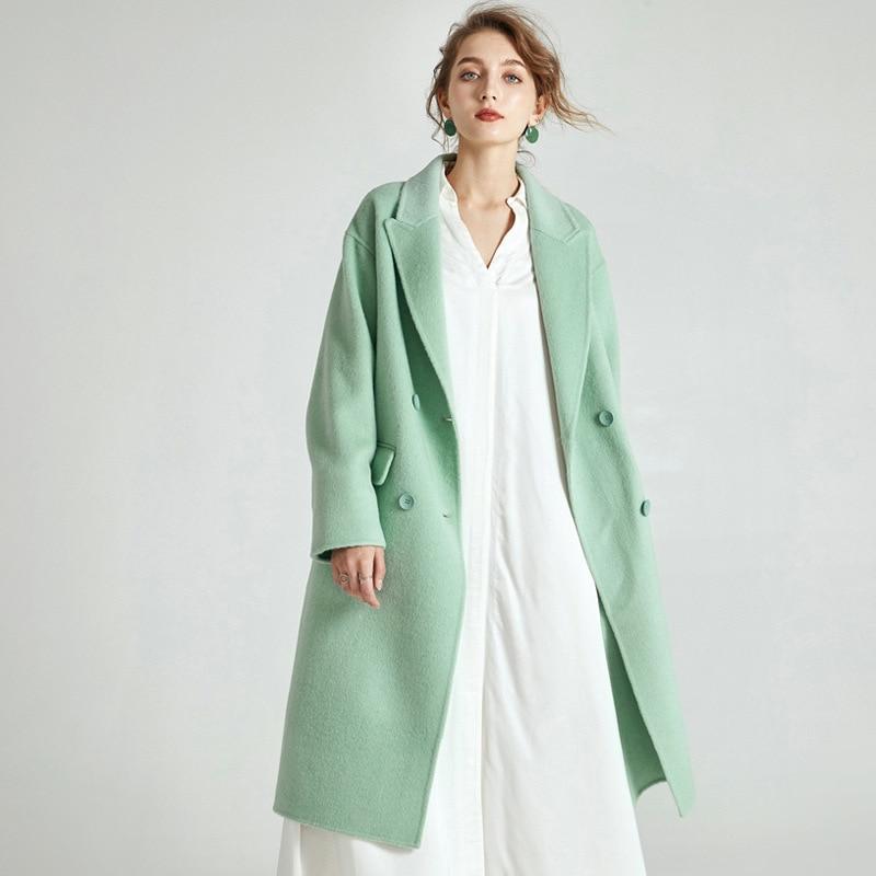 Vert Coréenne À Mint Manteau Haut Gamme Boutonnage Face Hiver Menthe Ckouccoo 2018 Cachemire Pardessus Double SxRRfqE