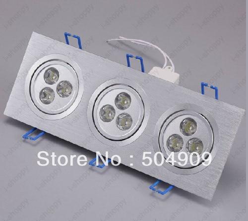 9W(3*3W) 9-LED Tri-Head Recessed Ceiling Cabinet Down Light Fixture Downlight/Spotlight Bulb Lamp Rectangle AC 110V/220V