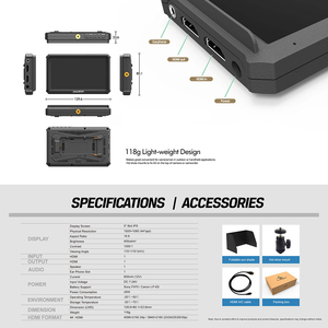 Image 5 - كاميرا lilliplace A5 1920x1080 4K HDMI داخل/خارج البث 5 بوصة/فيديو رصد المجال لكانون نيكون سوني Zhiyun Gimbal السلس 4