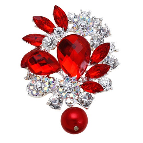 cheap sell Fashion large silver Personalized Acrylic Rhinestone Red Flower Women Wedding Brooch pins /men jewelry corsage clips