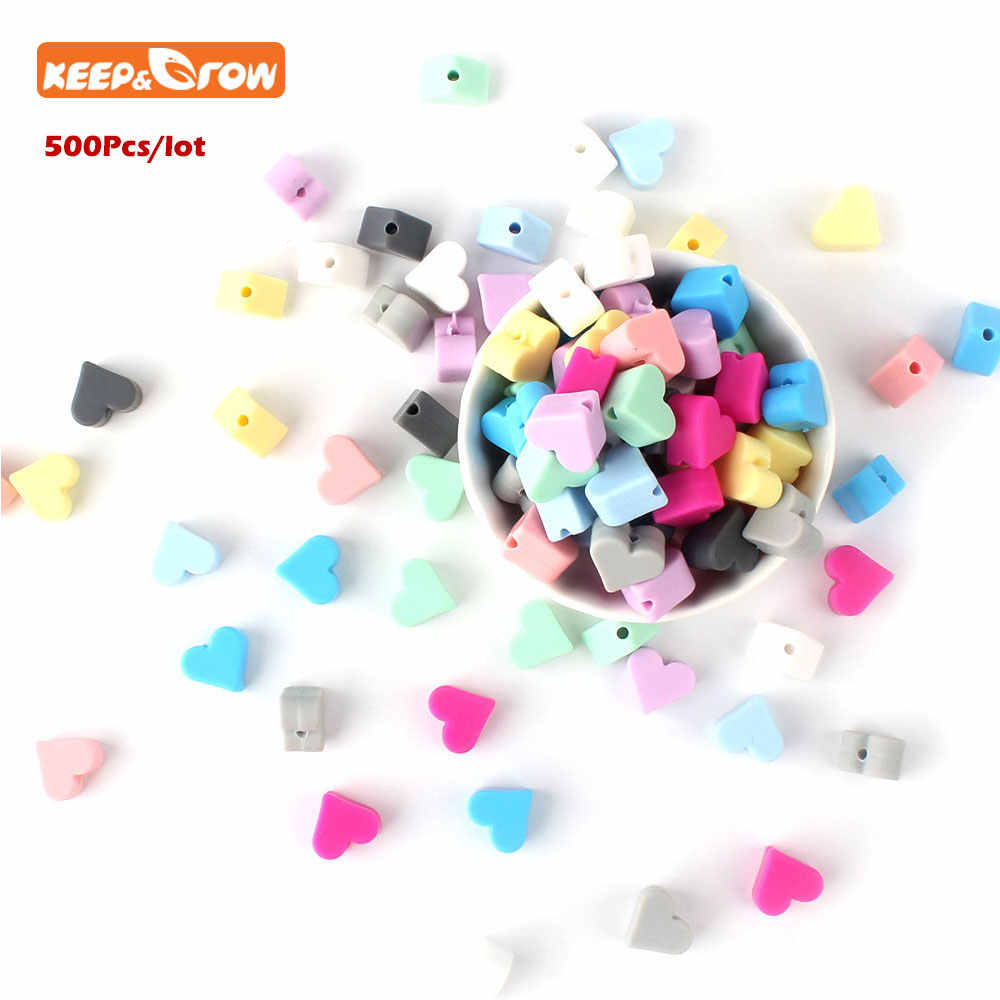 Keep&Grow 500Pcs Star Silicone Beads 12mm Food Grade Teether Heart Beads Bracelet For DIY Jewelry Making Beads Baby Teether Toys
