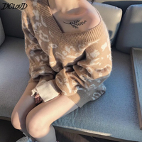 Korean Autumn Winter V Neck Leopard Sexy wool Sweater Woman 2018 Fashion Casual Loose Pullovers Female Tops Elegant Sweater NEW