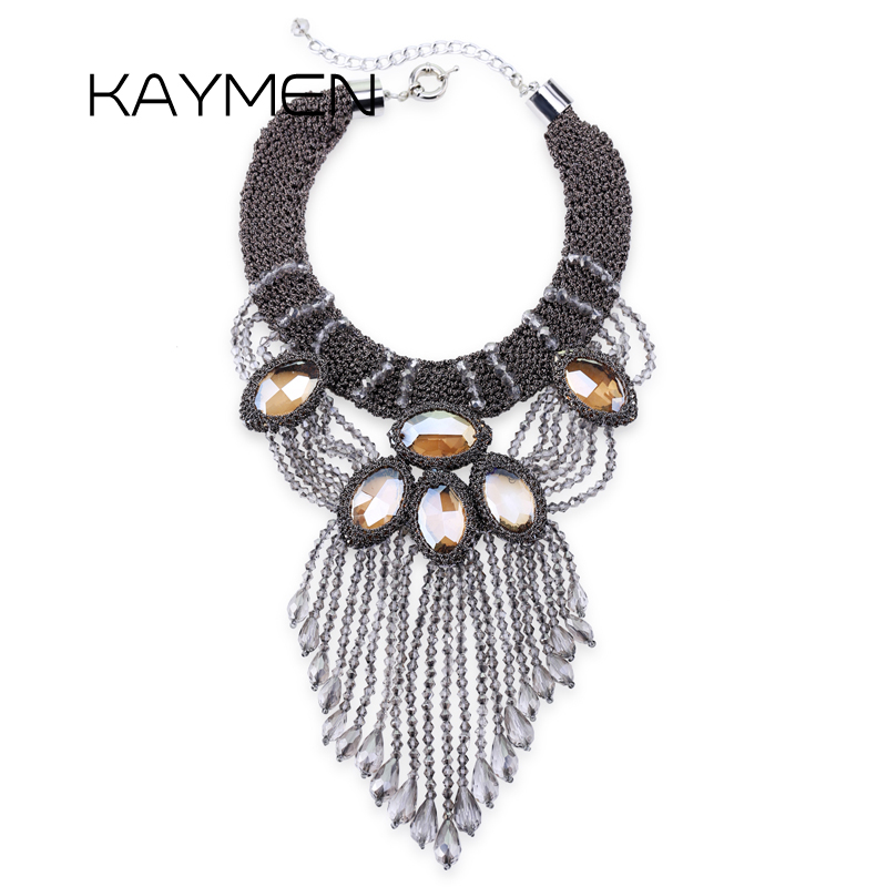 New Arrival Fashionable Knitting Crystal Statement Choker Necklace for Women Water-Drop Strand Tassels Wedding Necklace цена 2017