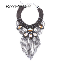New Arrival Fashionable Knitting Crystal Statement Choker Necklace for Women Water Drop Strand Tassels Wedding Necklace