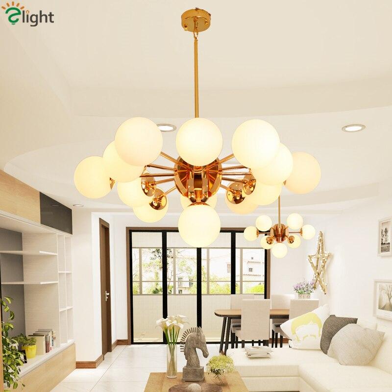 ΞMinimalismo nórdico modo E27 candelabro post moderno globos oro LED ...