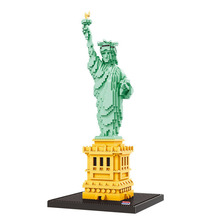 цена Famous Statue of Liberty Architecture Building Block Toys Diamond Blocks Diy Bricks educational toys for kids онлайн в 2017 году