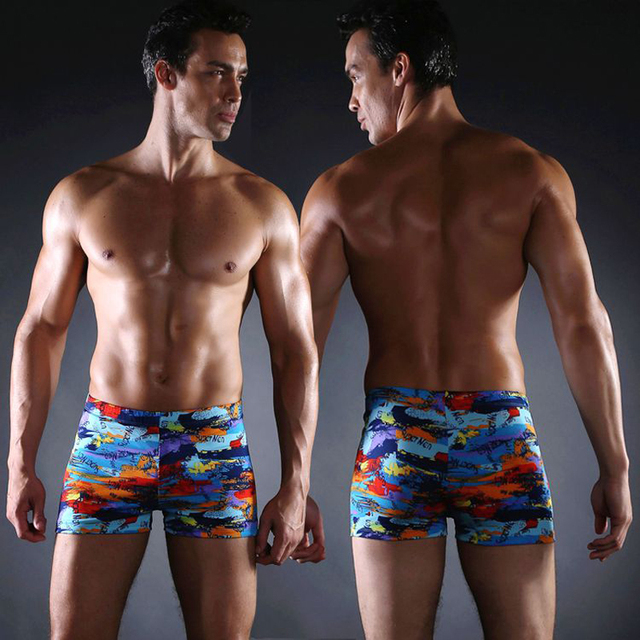 2c16754381a Cool Print Elastic Band adjustable ties man Swimming suits Large Male Plus  size XXXL Sexy 2017