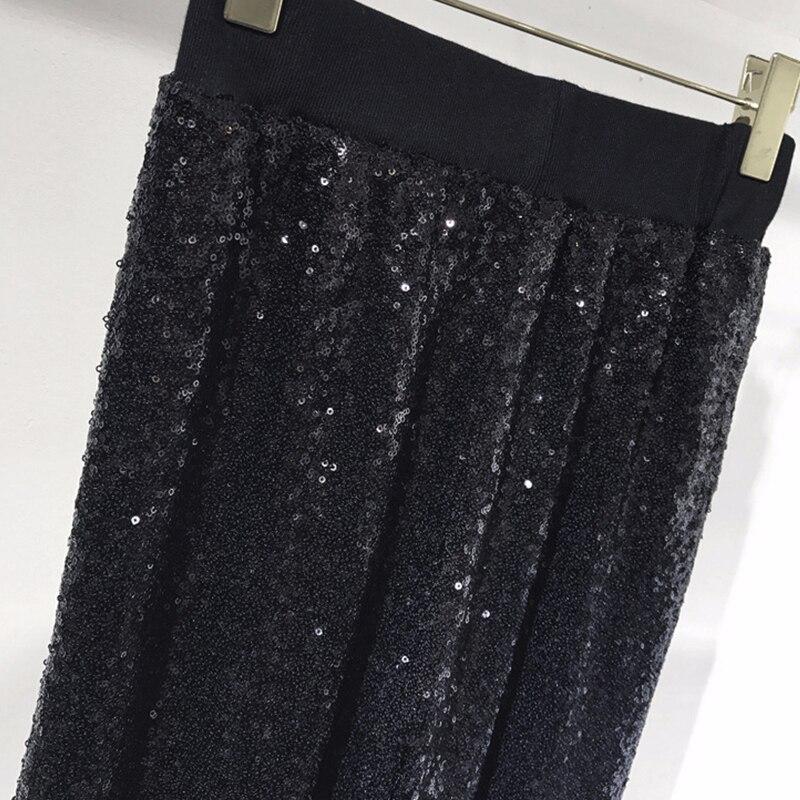 Paillettes Femmes Gruiiceen Streetweat Droite Nouveau Noir Taille Lâche Luxe Pantalon 2018 Pantalones Élastique Haute 7A7gtwFq