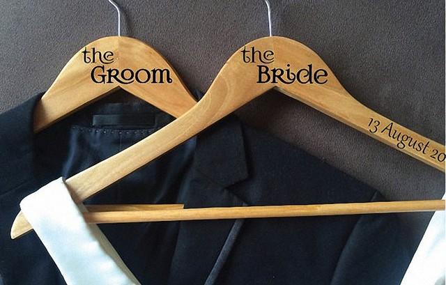 custom laser cut name hanger, Bridal and groom wedding hanger ...