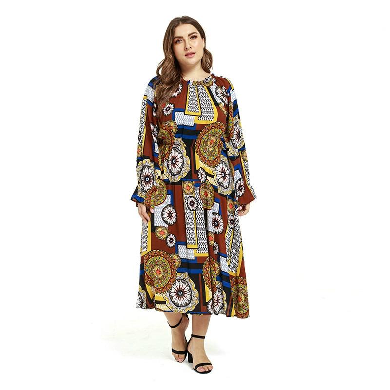 Bohemian Plus Size Dress Women Ruffles Sleeve Elegant Dress Geometric Print Loose Maxi Dress Vestidos Mujer Summer Clothes 2019 in Dresses from Women 39 s Clothing