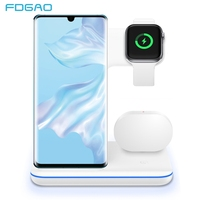 FDGAO 3 in 1 15W Fast Wireless Charger Stand For Apple Watch iWatch 5 4 3 AirPods Pro Qi for iPhone 11 X XS XR 8 Samsung S10 S20 Wireless Chargers    -