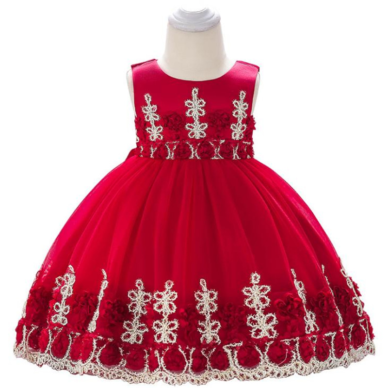 Red Princess Dress for Girl Beautiful Party Wedding Dress Cotton Sleeveless Baby Girl Dress
