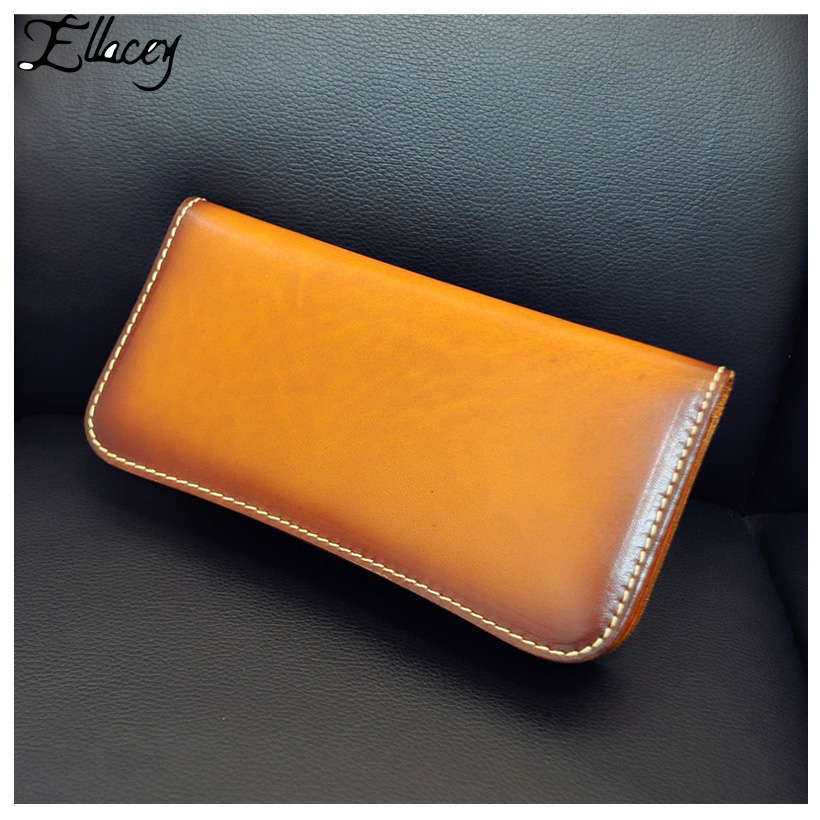New 2018 Genuine Leather Purse Vintage Handmade Wallet Men Women Zipper Card Holder Cow Leather Clutch Bag Retro Long Wallet luxury brand vintage handmade genuine vegetable tanned cow leather men women long zipper wallet purse wallets clutch bag for man