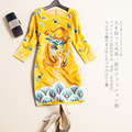 Women Autumn High Quality Runway Designing Dragon Animal Embroidery Slim Yellow Straight Dress Chinese Style Vinatge Dresses