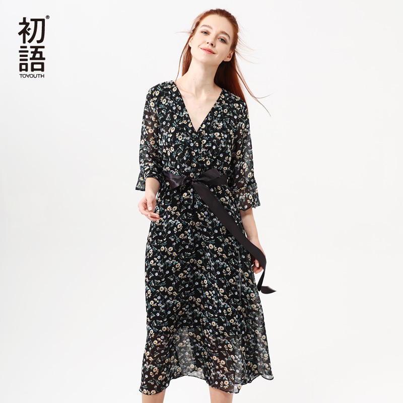 Toyouth Women Summer Floral Print Chiffon Dress V-Neck Half Butterfly Sleeve Dresses Slim Flowers Party Vestidos with Sashes
