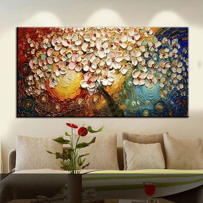 handmade Modern Canvas on Oil Painting Palette knife Tree 3D Flowers Paintings Home living room Decor Wall Art 168023