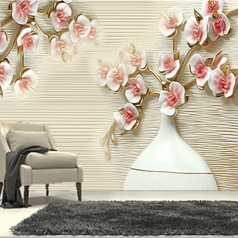 Последние 3D обои, 3D jade обои цветы и ваза Papel де Parede, ТВ стены гостиной диван стены спальне обои