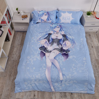 Anime Bedding sets Re: Life In A Different World From Zero Long Hair Rem Bedding Set With Pillow Cases Bed Sheet Duvet Cover Set
