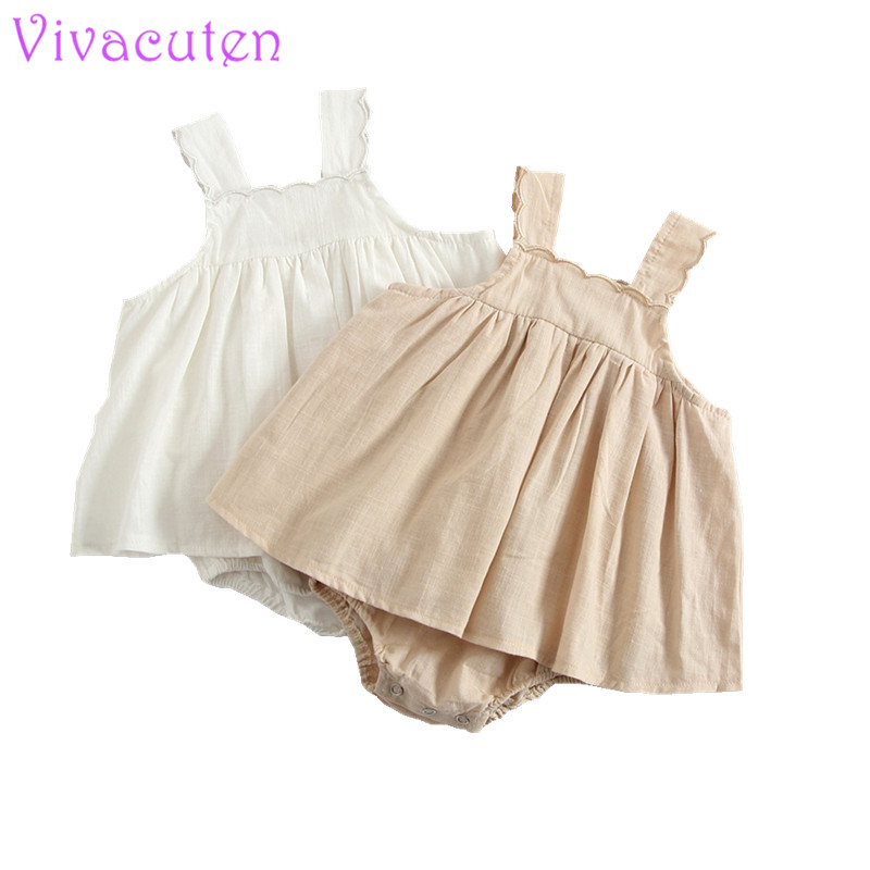 2018 Fashion Baby romper dress Cute Newborn Toddle Baby Girls Solid White Lace Sleeveless Romper Dress Fashion Jumpsuit 0-3T
