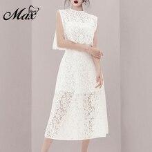 цена на Max Spri 2019 New Fashion Office Lady 2 Piece Sets Sexy Lace Floral Sling Dress With O Neck Sleeveless Tops Elegant Women Sets