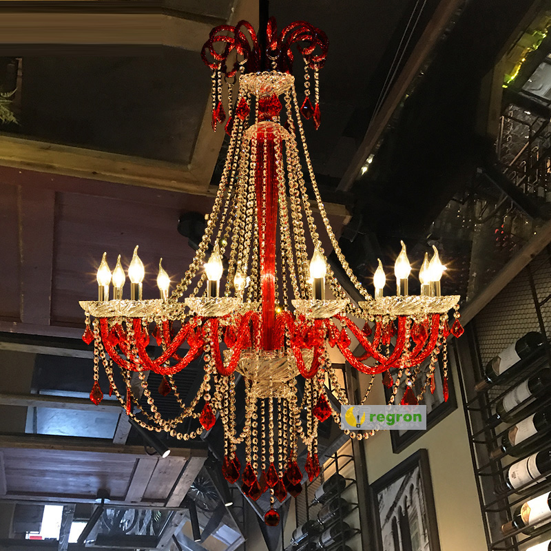 цена wine Red glass Chandelier crystal drop Coffee shop Restaurant Spain New Bar lamp Mixed Color Chandelier Lampadari Customized E14