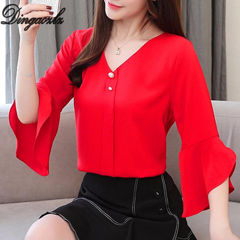 Dingaozlz Chiffon   Shirt   Women Summer Tops 2019 New Korean Fashion Flare sleve V-neck White Chiffon   blouse     Shirt   Plus size