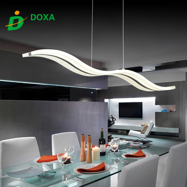2017 New Creative Dimmable Modern Led Chandeliers Waves Dining Chandelier Re Lamparas Colgantes For Dinning Room