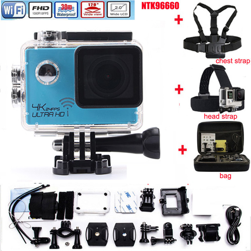 Action camera gopro hero 4 style 4K  Wifi Novatek 96660 Waterproof Helmet Diving Mini cam HD 2.0 LCD Extreme Mini Sport camera add camera bag and two battery sport action camera 1080p hd 12mp sj4000 wifi extre sports camara gopro hero 3 go pro 4 cam style