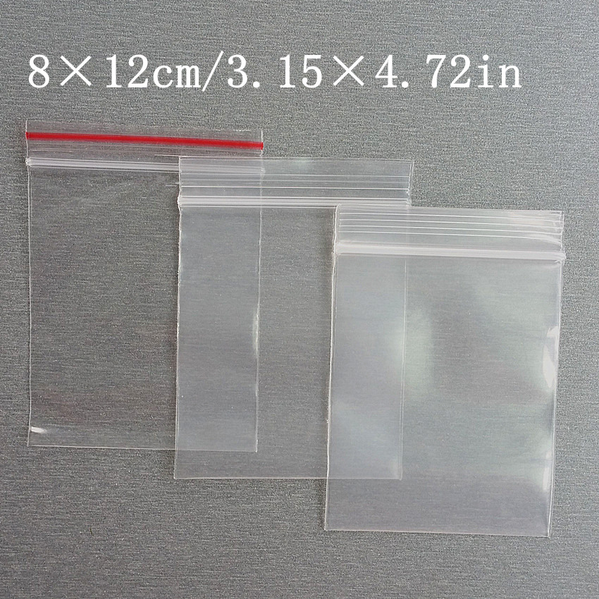 3 Kinds Thickness 8x12cm Self Sealing Zipper Ziplock Plastic Package Reclosable Clip Chain Grocery Small Bags 100pcs/lot
