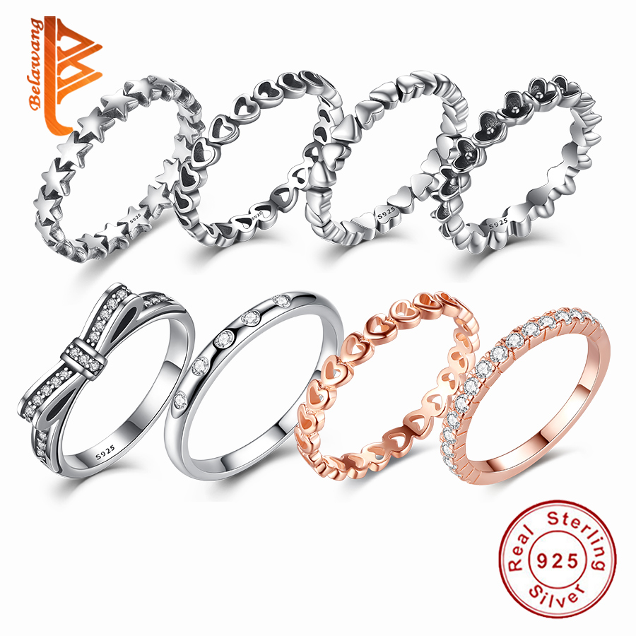 BELAWANG Hot Sale 925 Sterling Silver 8 Styles Stackable Party Finger Ring For Women Original Fine Jewelry Gift