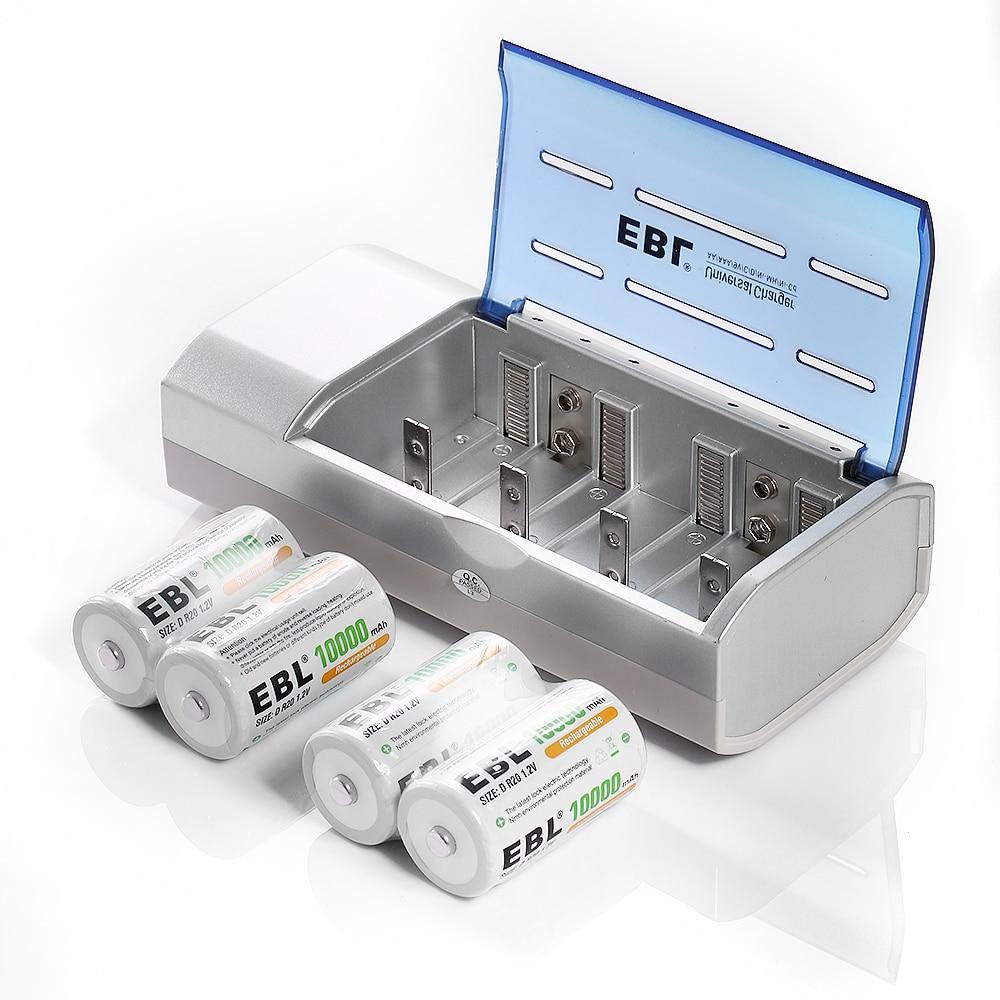 EBL 8 pcs/lot Type D batterie 10000 mAh + chargeur de batterie pour AA/AAA C D taille Ni-MH ni-cd Batteries rechargeables universelles