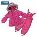 Winter girls warm suit Moomin 2015 New arrival Fashion Print Children cotton Sets Zipper Rose Kids Warm Coat+pants Suit Sets