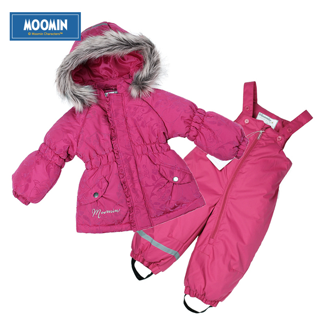 Winter girls warm suit Moomin 2015 New arrival Fashion Print Children cotton Sets Zipper Rose Kids Warm Coat+pants Suit Sets