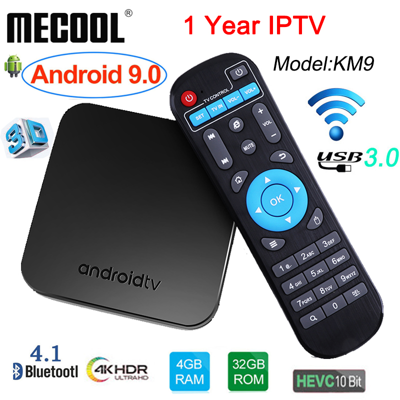 1 an IPTV date DMYCO KM9 TV Box Android 9.0 Amlogic S905X2 4 GB/32 GB 4 K Smart TV Box USB 3.0 Bluetooth 4.1 Android Box