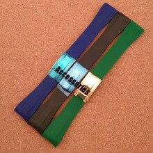 Negro Azul Verde extremo curvo 20mm Correa de Reloj Nueva Banda de Caucho De Alta Calidad relojes de marca accesorios de hombres con foliding cierre