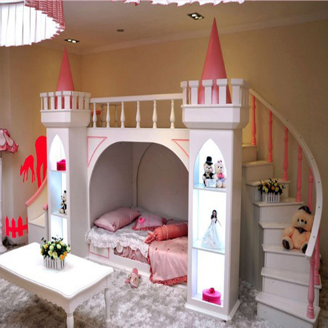 Continental Pure Pine Wood Bunk Beds Children Bed Castle Princess