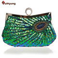 New Women Hand-beaded Sequins Day Clutches Fashion Diamond Ring Peacock Evening Bag  Wedding Party Handbag Chain Shoulder Bag