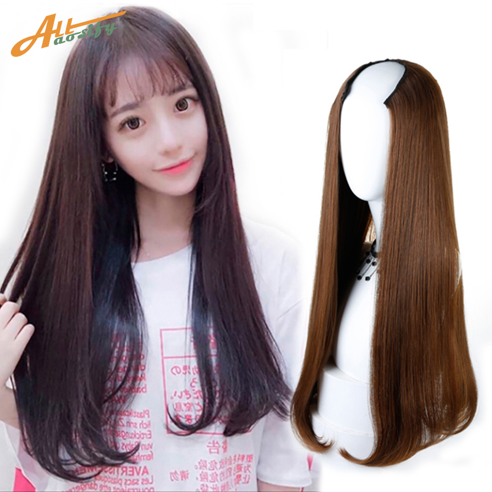 Allaosify 3 Colors Long Straight Half Wig For Female Party Halloween Synthetic High Temp ...