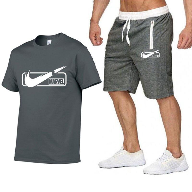 0ce631f0f En Oferta Nueva moda traje deportivo y camiseta conjunto para hombre  Camiseta pantalones cortos + ...