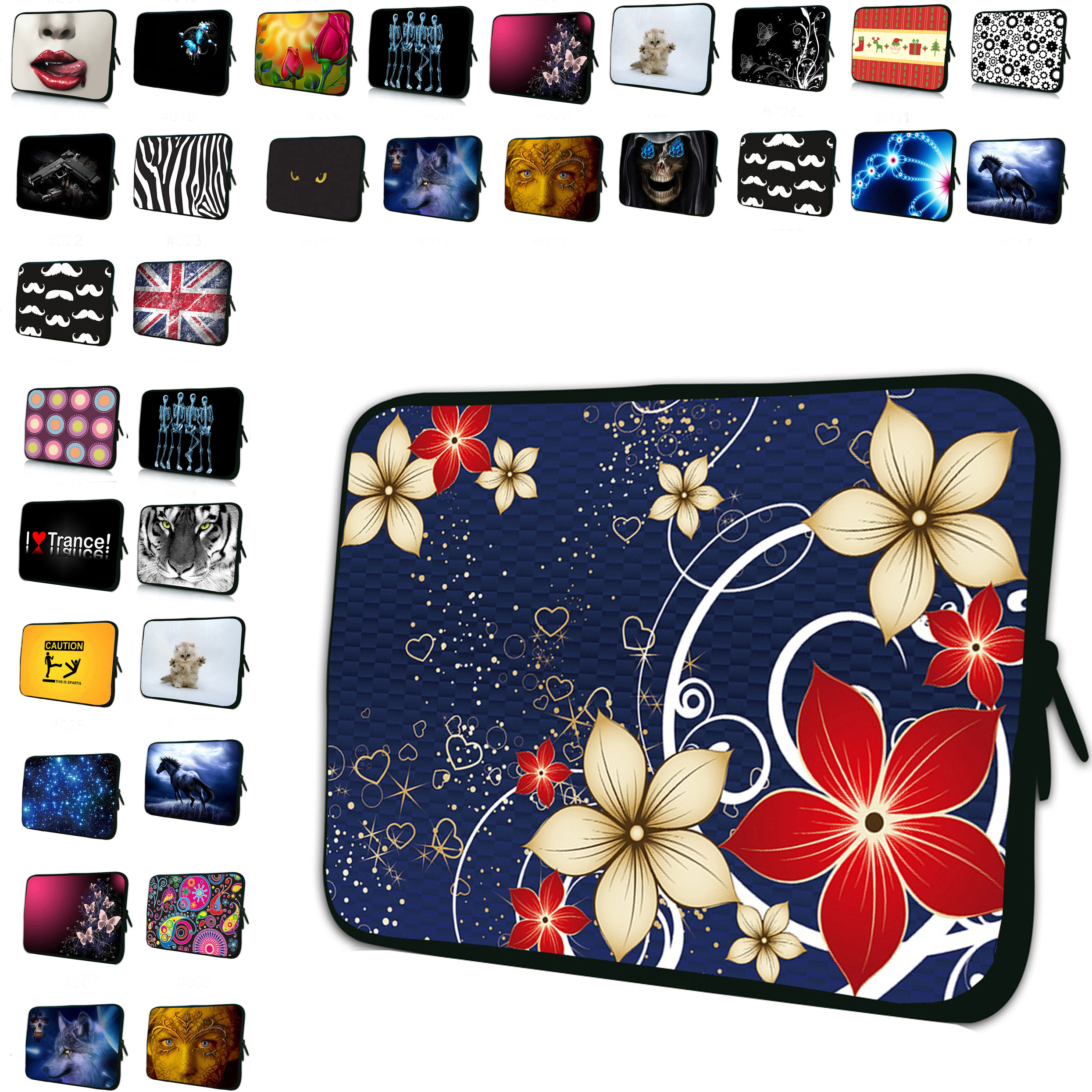Stylish Flowrs Women Portable 7 10 12 13 14 15 17 16 inch Laptop Notebook Sleeve Bag Zipper Cover Cases Pouch Protector Bolsas