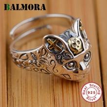 Balmora 100% реальные 925 пробы Серебряные ювелирные изделия ретро кошка палец Кольца для Для женщин Для мужчин подарки партии животного кольцо Изменение размера SY20568