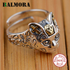 BALMORA 100 Real 925 Sterling Silver Jewelry Retro Cat Finger Rings For Women Men Party Gifts