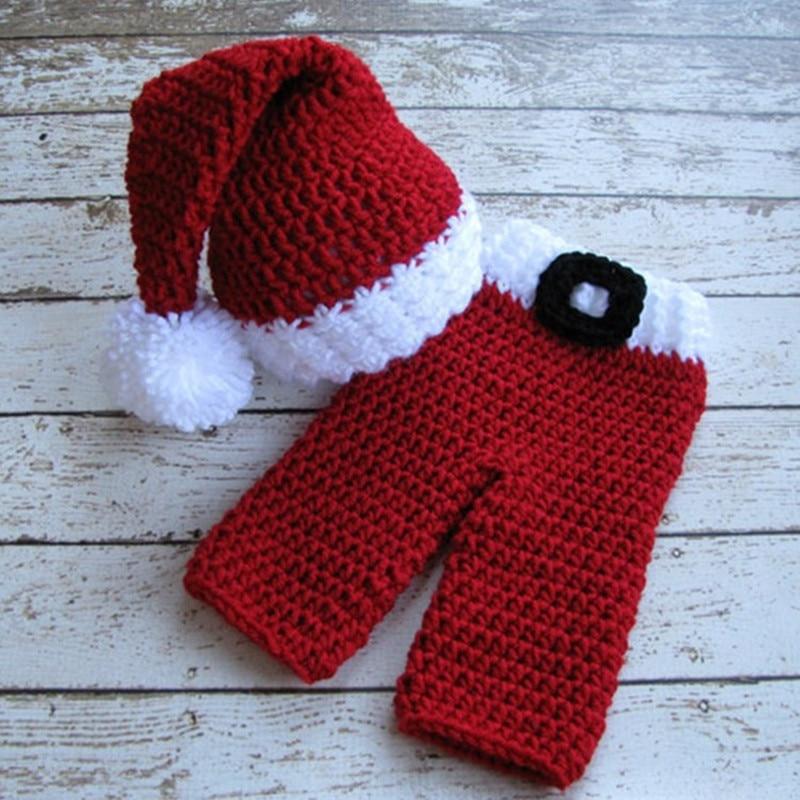 2pcs Handmade Baby Elf Hat +Pants Santa Claus Christmas Photography Prop Clothing Set Newborn Clothes Knitted New Born Infant crochet santa claus baby photography prop costume set