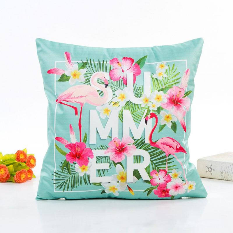 1pc Summer flamingos Flower Cushion Cover Leaf Linen Pillow Cases Pillow Covers Bedroom Sofa Decoration 45X45cm #20